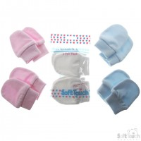 Soft Touch Blue Newborn Anti-scratch Mitts - 2 pairs