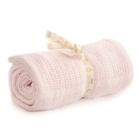 Bizzi Growin Cot Bed Cotton Cellular Blanket - Pink