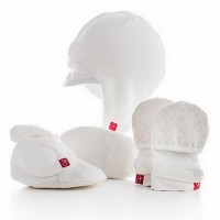 Goumi Kids Newborn Hat, Mitt and Bootie Set - Cream