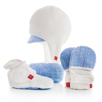 Goumi Kids Newborn Hat, Mitt and Bootie Set - Blue